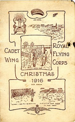 The 1916 Christmas Card from No 1 Cadet Wing at Denham, the last cartoon describing 'our little mud hole in the West'