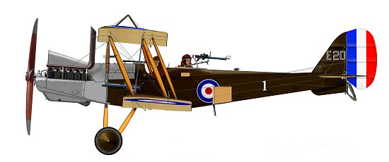 Used front line aircraft such as this RE.8 were supplied to Denham to become training aids
