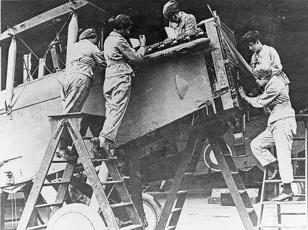 As the war progressed, women took up engineering tasks in the RFC