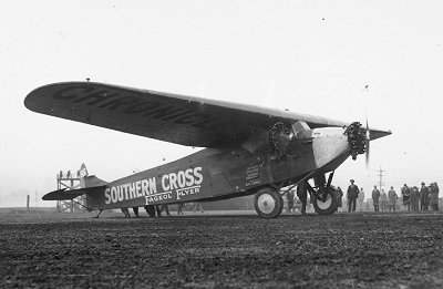 Smithy's Fokker F.VII/3m named Southern Cross about to leave Oakland to begin the first flight across the Pacific Ocean.